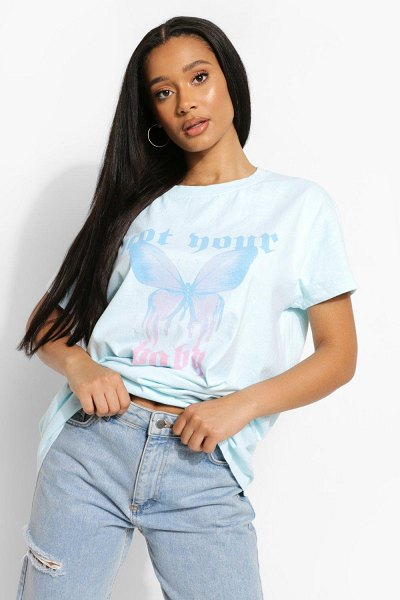 Boohoo Overdyed Not Your Baby T-Shirt in baby blue