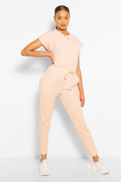 Boohoo Oversized Bandage T-Shirt And Trouser Co-Ord in blush