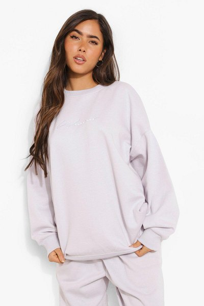 Boohoo Oversized Embroidered Woman Script Sweatshirt in lilac haze
