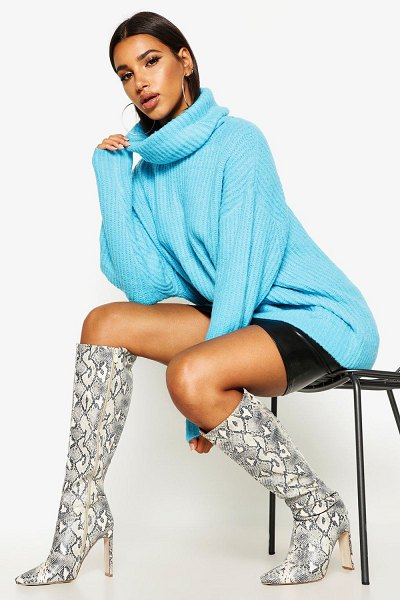 Boohoo Oversized Roll Neck Rib Knit Sweater in peacock