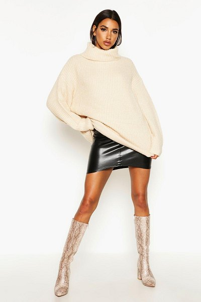 Boohoo Oversized Turtleneck Rib Knit Sweater in stone