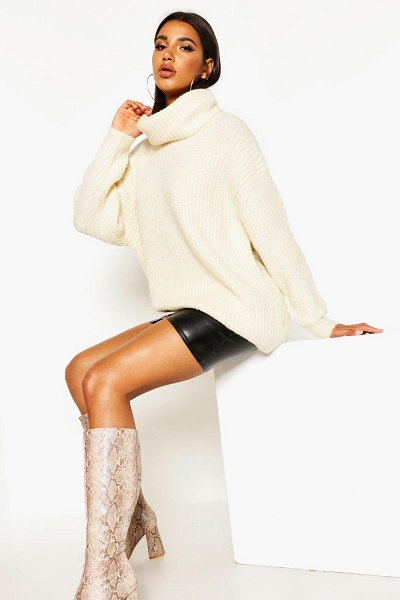 Boohoo Oversized Turtleneck Rib Knit Sweater in cream