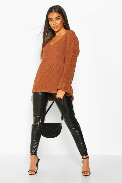 Boohoo Oversized V Neck Sweater in toffee
