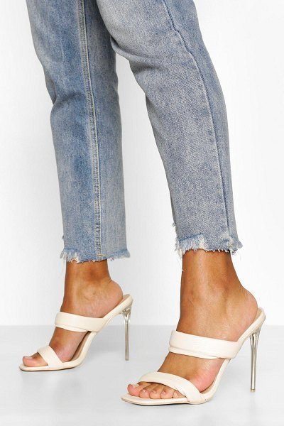Boohoo Padded Strap Clear Heel Mules in cream
