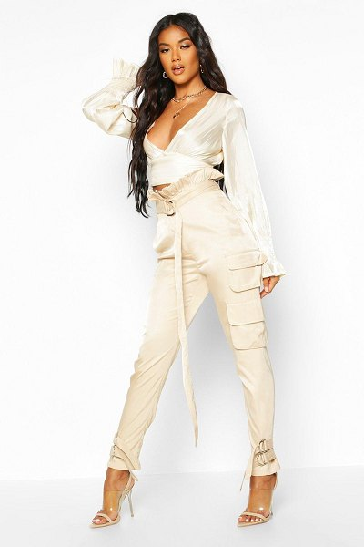 Boohoo Paper Bag Belted Cargo Trouser in stone