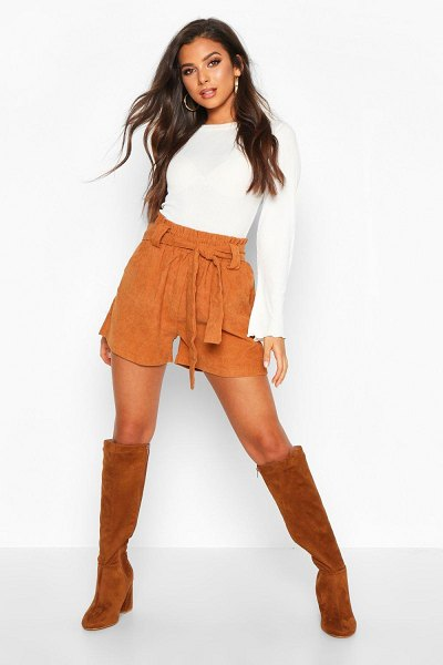 Boohoo Paperbag Waist Baby Cord Shorts in tan
