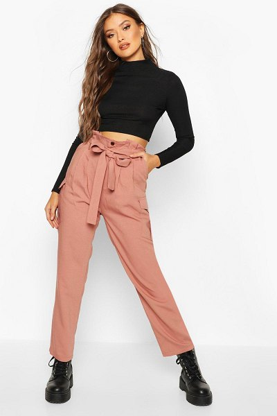 Boohoo Paperbag Waist Cargo pants in rose