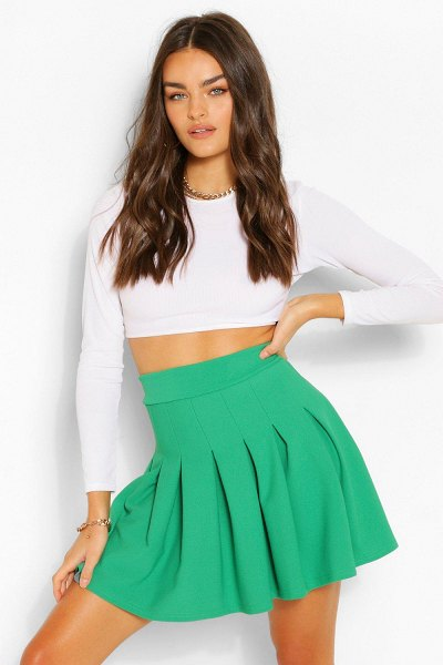 Boohoo Pleated Tennis Skirt in emerald