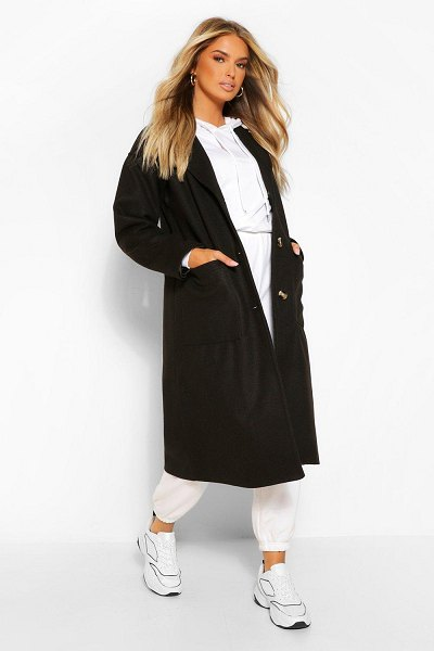 Boohoo Pocket Detail Longline Wool Look Coat in black