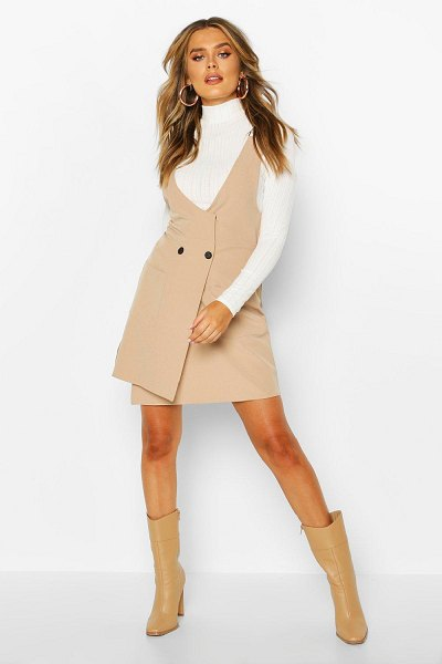 Boohoo Pocket Front Pinafore Dress in stone