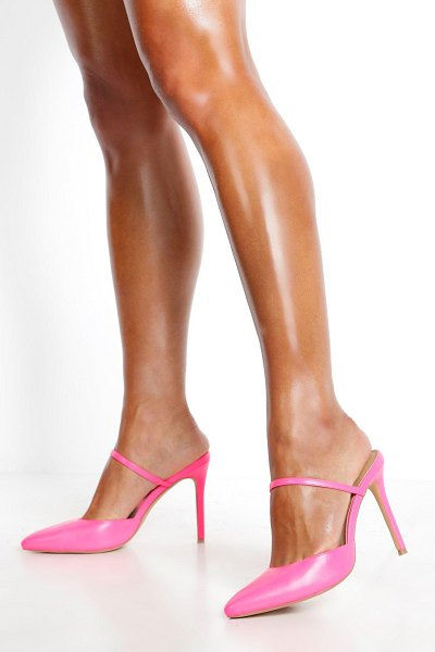 Boohoo Pointed Mule Court Shoes in hot pink