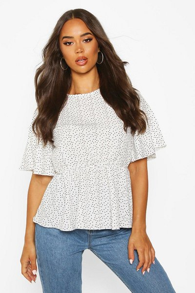 Boohoo Polka Dot Peplum Detail Blouse in ivory