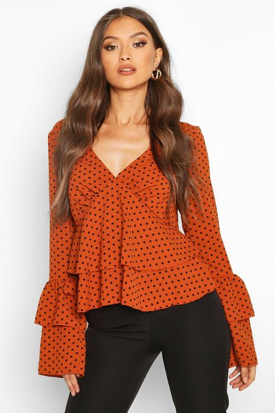 Boohoo Polka Dot Ruffle Sleeve Top in rust