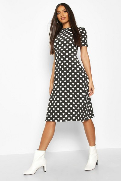 Boohoo Polka Dot Short Sleeve Midi Dress in black