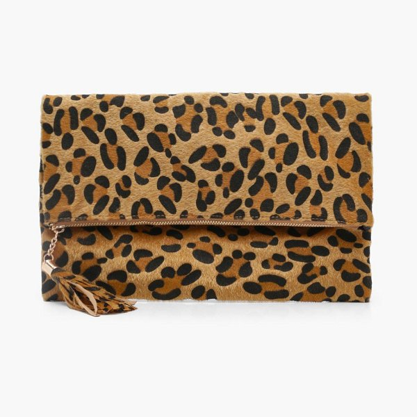 Boohoo Pony Leopard Foldover Clutch in natural - Add attitude with accessories for those fashion-forward...