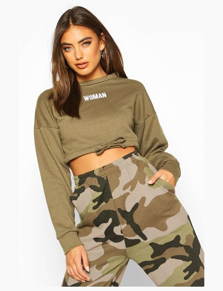 Boohoo Premium Cropped Ruched Hem Embroidered Sweatshirt in khaki
