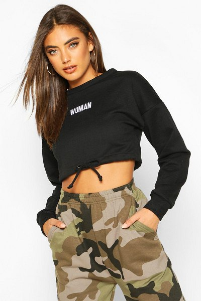 Boohoo Premium Cropped Ruched Hem Embroidered Sweatshirt in black