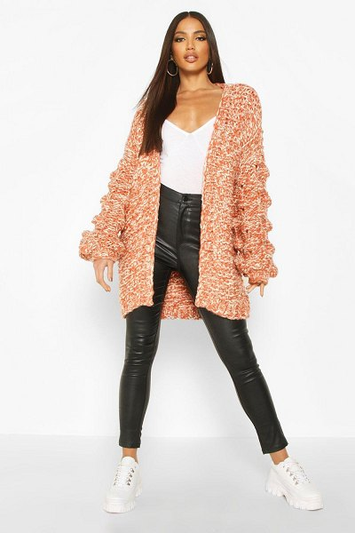 Boohoo Premium Hand Knitted Chunky Cable Cardigan in rust