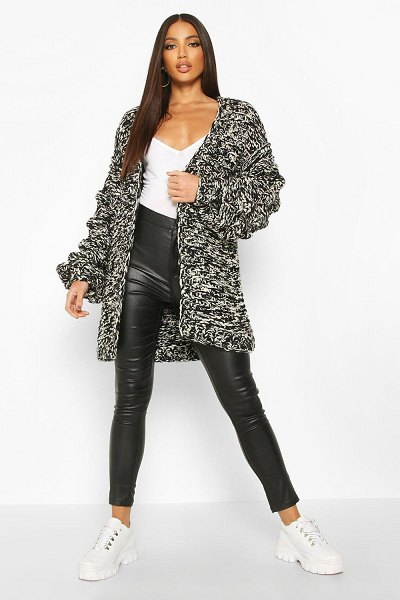 Boohoo Premium Hand Knitted Chunky Cable Cardigan in black