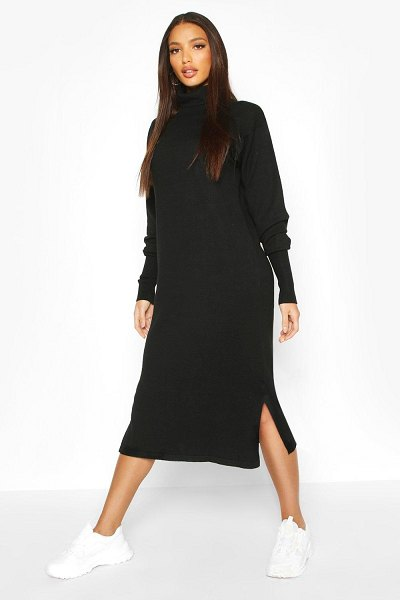 Boohoo Premium Knitted Roll Neck Midi Dress in black