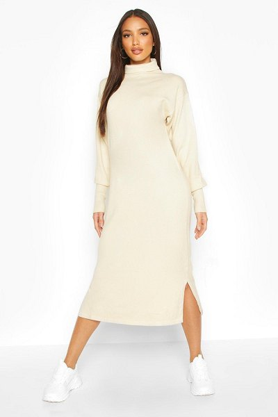 Boohoo Premium Knitted Roll Neck Midi Dress in cream