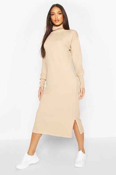 Boohoo Premium Knitted Roll Neck Midi Dress in camel