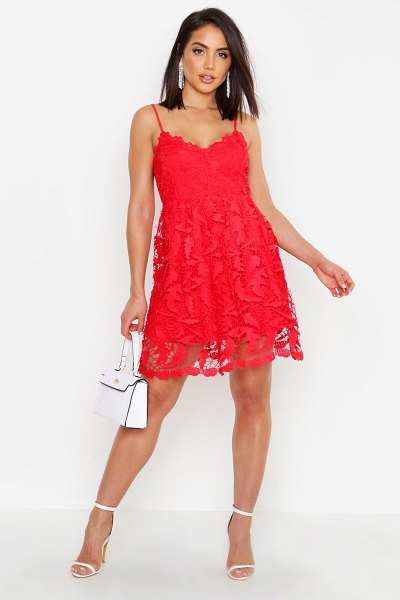 Boohoo Womens Premium Lace Skater Dress - red - 2 in red