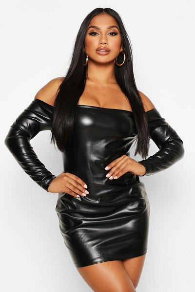 Boohoo PU Scooped Out Sleeve Detail Mini in black