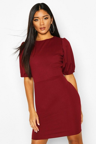 Boohoo Puff Sleeve Midi Dress in berry