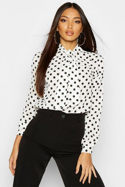 Boohoo Pussy Bow Polka Dot High Neck Blouse in white