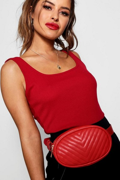 Boohoo Quilted Belt Bag in red