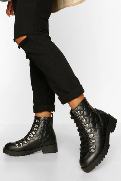 Boohoo Quilted Panel Chunky Hiker Boots in black