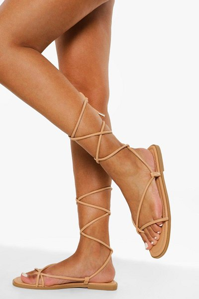 Boohoo Quilted Wrap Up Sandal in nude