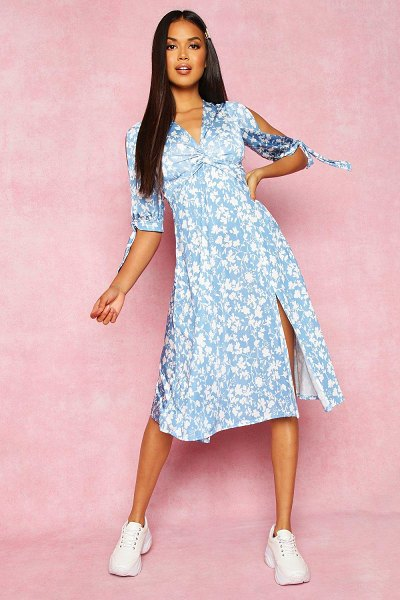 Boohoo Recycled Floral Print Twist Front Midi Dress in blue
