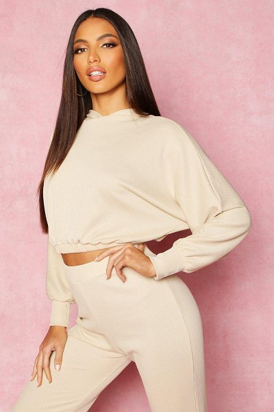 Boohoo Recycled Rib Crop Hoody in stone