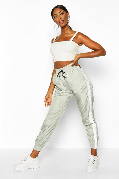 Boohoo Reflective Panel Shell Joggers in sage