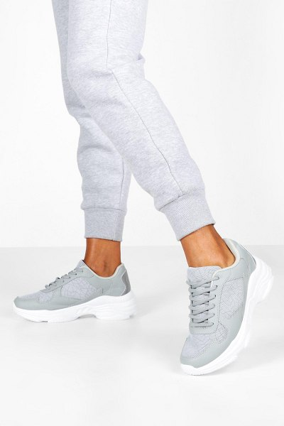 Boohoo Reflective Panels Chunky Sole Sneakers in grey