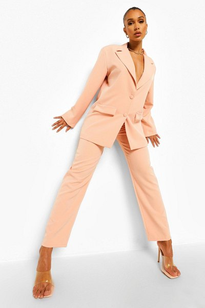Boohoo Relaxed Fit Tailored Pants in peach
