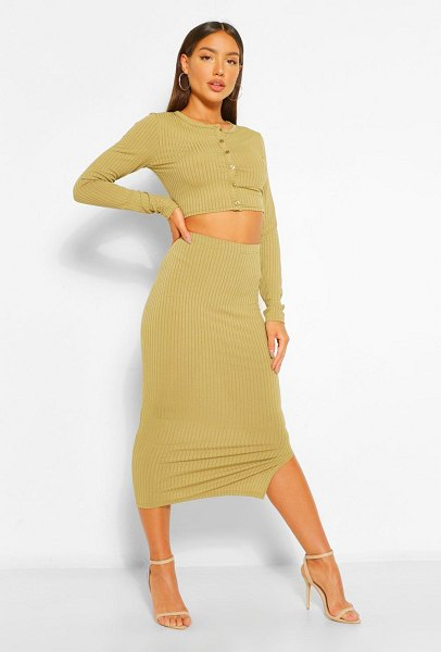Boohoo Rib Crop Cardigan And Midi Skirt Co-Ord in olive