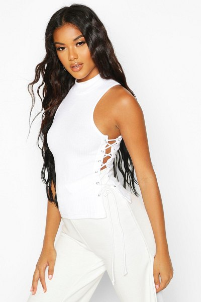 Boohoo Rib High Neck Lace Up Top in white