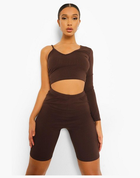 Boohoo Rib One Shoulder Asymmetric Crop Top in chocolate