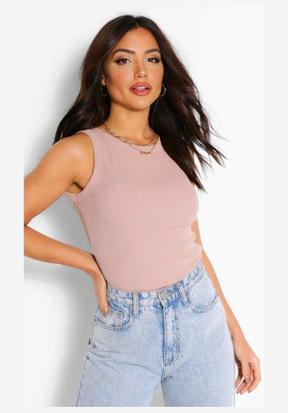 Boohoo Rib Racer Front Tank in stone