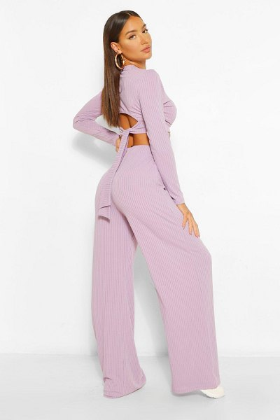 Boohoo Rib Tie Back Top And Wide Trouser Co-Ord in mauve