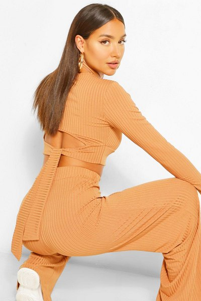 Boohoo Rib Tie Back Top And Wide Trouser Co-Ord in camel