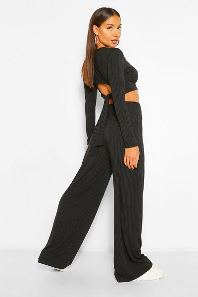 Boohoo Rib Tie Back Top And Wide Trouser Co-Ord in black