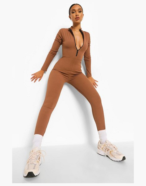 Boohoo Rib Zip Down Jumpsuit in chocolate