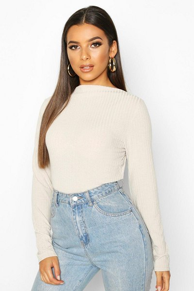 Boohoo Ribbed Crew Neck Long Sleeve Top in stone