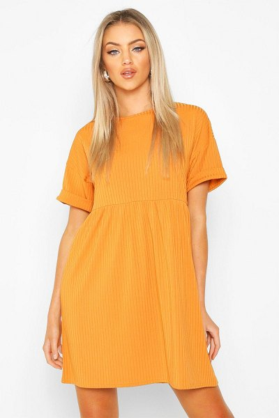 Boohoo Ribbed Smock Dress in copper