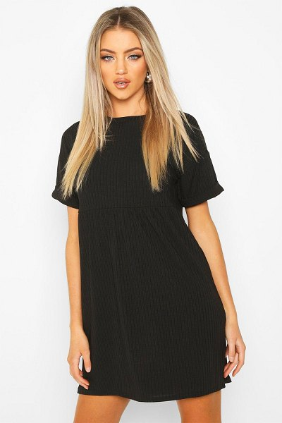 Boohoo Ribbed Smock Dress in black