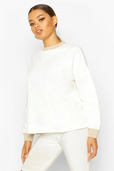 Boohoo Ringer Detail Sweatshirt in cream